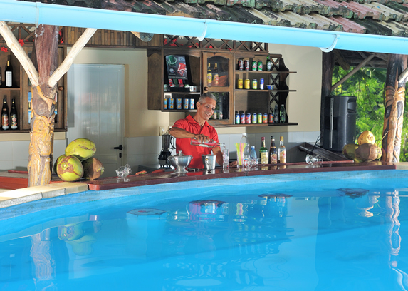 tiled rooftop pool bar