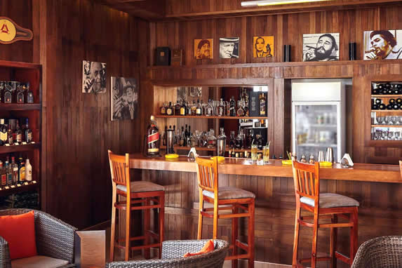bar with wooden ceiling and walls