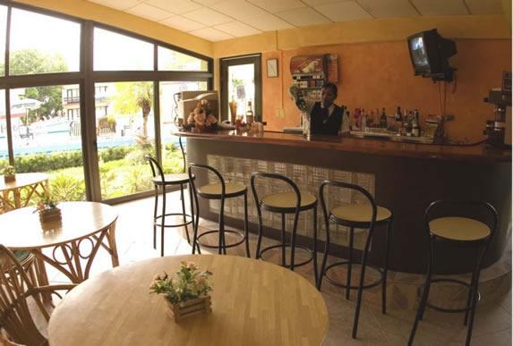 wooden bar with wicker sidewalks