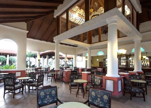 restaurant with wooden ceiling and furniture