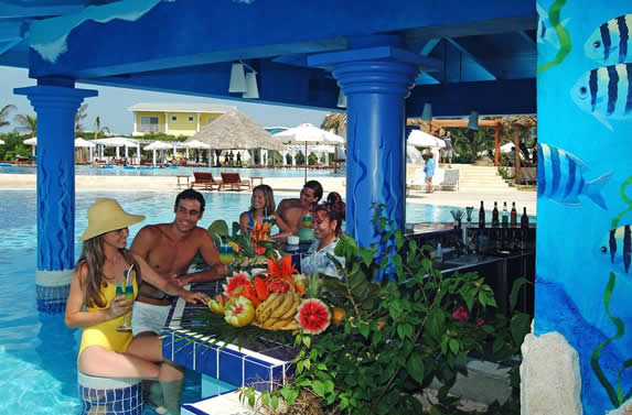 tourists at the pool bar