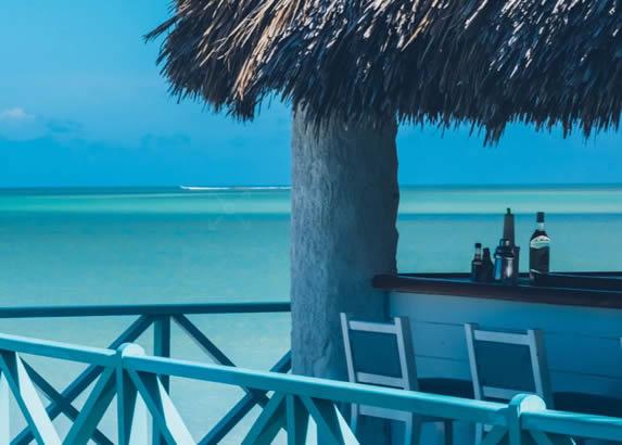 chiringuito con techo de guano junto a la playa
