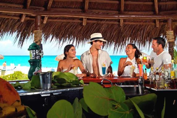 tourists at the beach bar