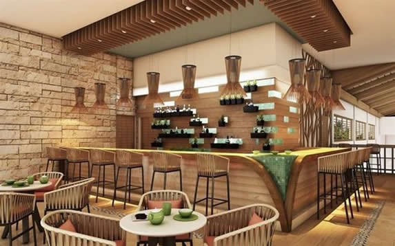 bar with wooden bar and furniture