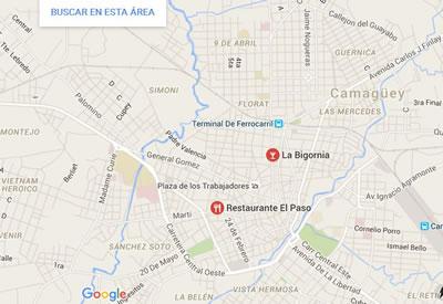 Restaurante La Bisgornia,Camaguey,Cuba,mapa