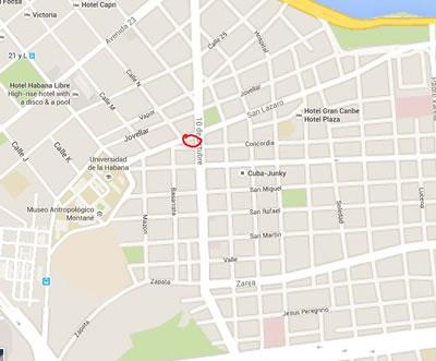 Restaurante El Biky, La Habana, Cuba,mapa