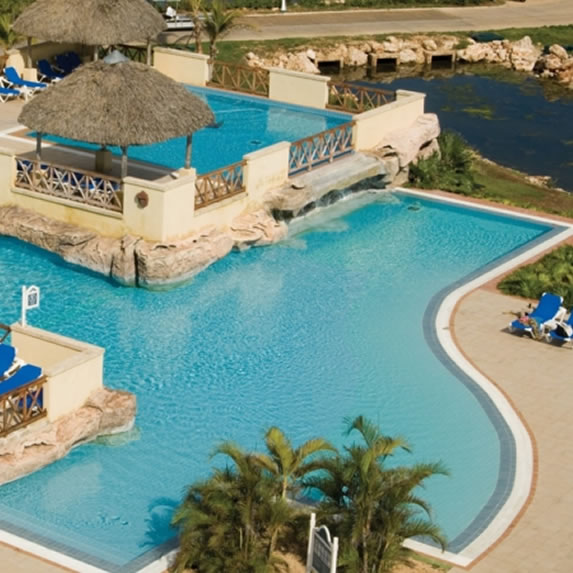 Tiered pool in hotel