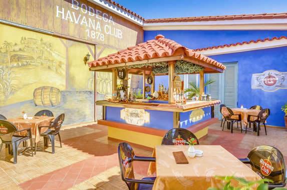 beach bar with tiles in inner courtyard