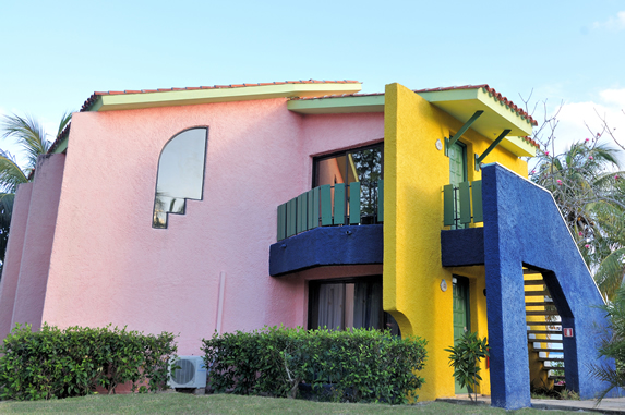 colorful two-story bungalow
