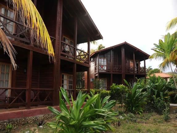 bungalow de madera de dos pisos rodeado de plantas