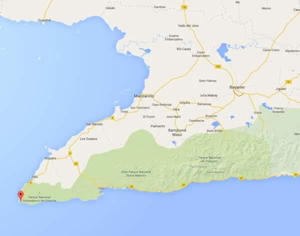Cruz cape, map,Granma, Cuba