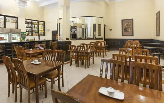 cafeteria with wooden furniture