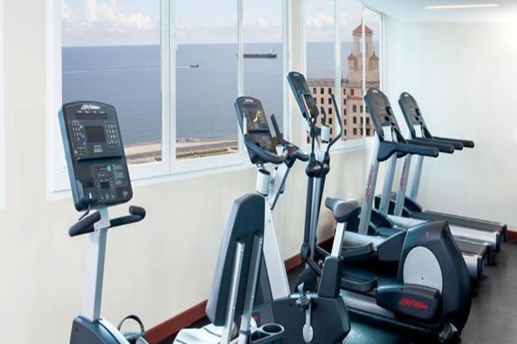 Gym with treadmills at the hotel