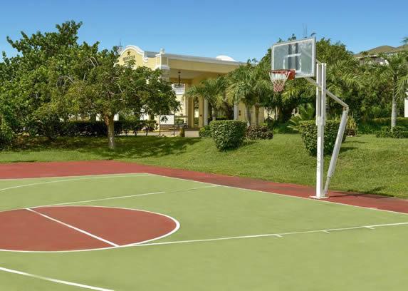 cancha de basquet rodeada de vegetación