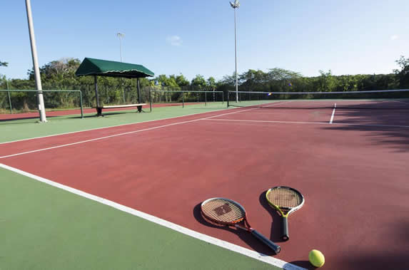 tennis court with greenery around