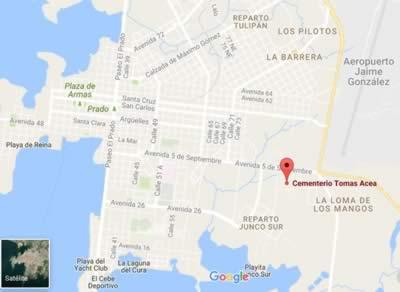 Tomás Acea Cemetery, Cienfuegos, Cuba.map