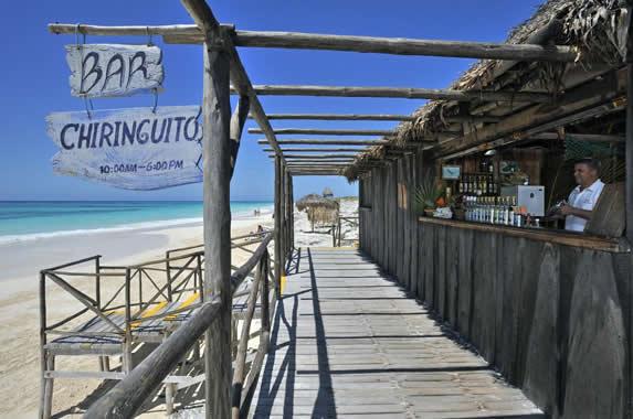 wooden beach bar on the beach