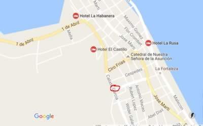 Restaurant La Colina, Baracoa, Cuba,map