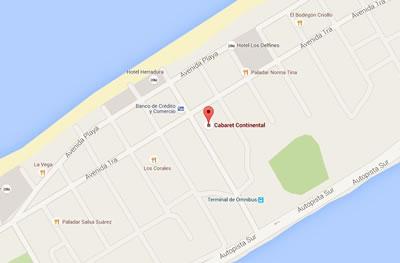 Cabaret Continental, Varadero, Cuba,map