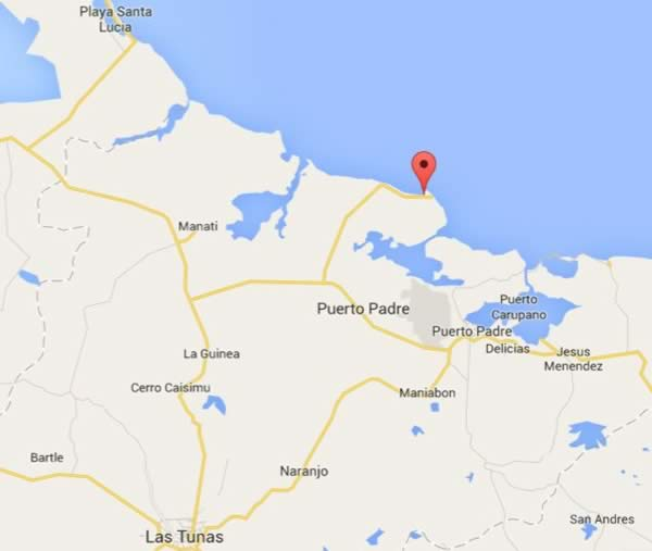 Playa Covarrubias,mapa, Las tunas, Cuba