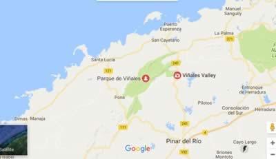 Del indio Cave, Viñales, Cuba, map