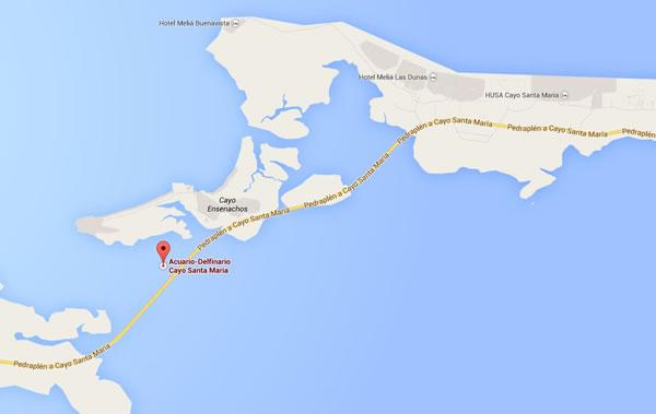 Delfinario, Mapa, Cayo Santa maría,Cuba