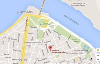Restaurante Donde Lis, Habana Vieja, Cuba,mapa