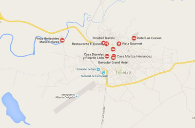 Restaurante El Dorado, Trinidad, Cuba,mapa