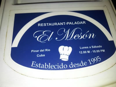 Restaurant El Mesón, Pinar del rio, Cuba