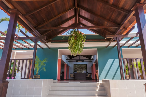 wooden roofed hotel entrance