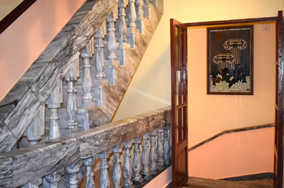 gray marble stairs inside the hotel
