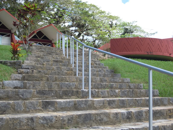 stone stairs with railing outside