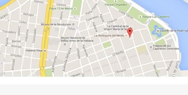 Restaurante Esto no es un café,La Habana,Cuba,mapa