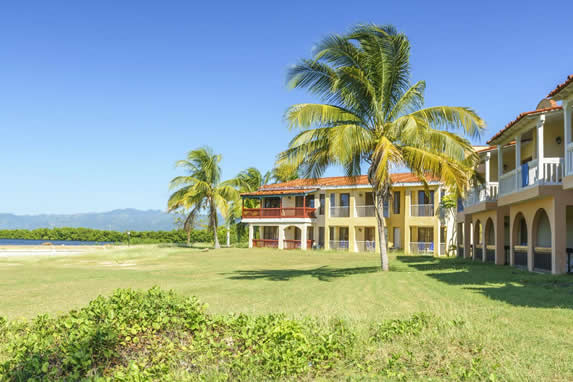 Beachfront bungalows surrounded by palm trees