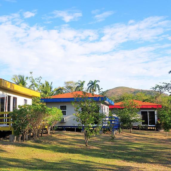 bungalows surrounded by greenery and mountains
