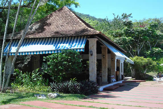 open restaurant with tile roof