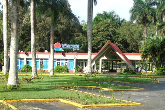 hotel facade surrounded by abundant vegetation