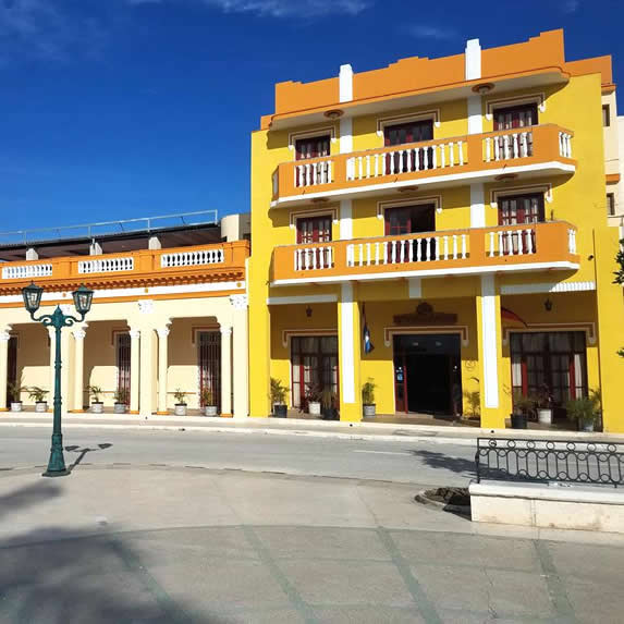 colonial building facade with balcony