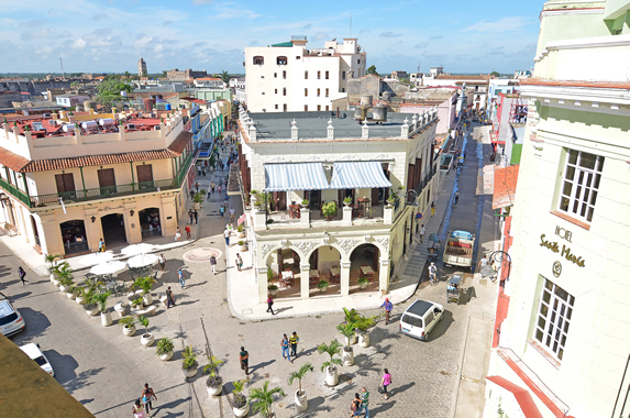 aerial view of square with colonial buildings