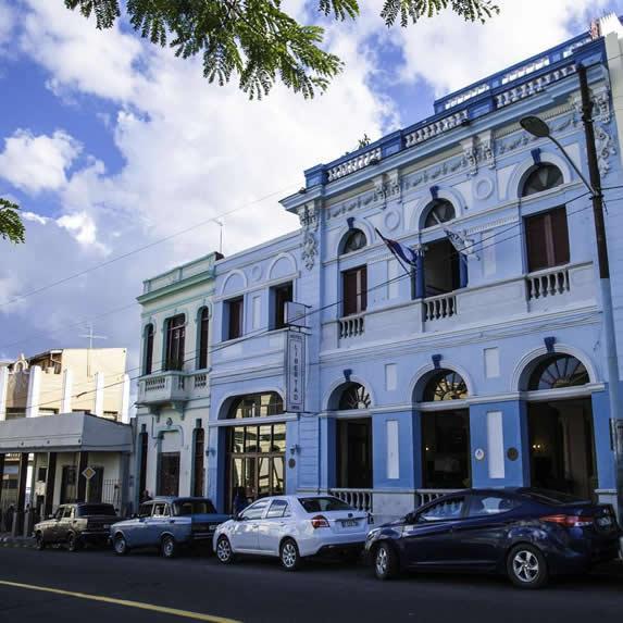 colonial facade under the blue sky