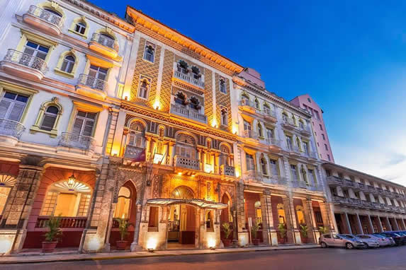 Illuminated facade at night of the Sevilla hotel