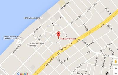 Restaurante La Fontana, Habana, Cuba,mapa