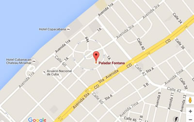 Restaurante La Fontana, Havana, Cuba,map