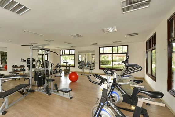 hotel gym with large windows