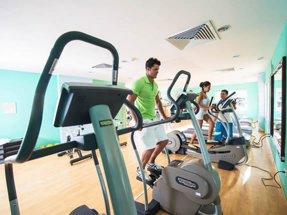 hotel gym with treadmills and other equipment