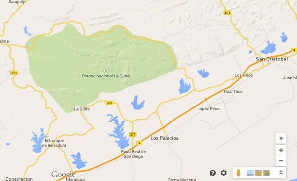 La guira National Park,Pinar del rio,map