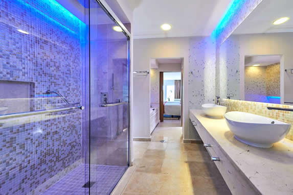 room bathroom with tub and shower