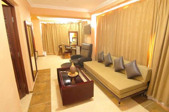 salón de la habitación con sofá y cortinas