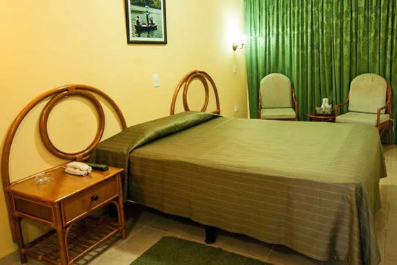 one bed bedroom and wooden furniture