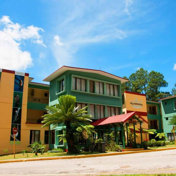 Hotel facade under the blue sky.